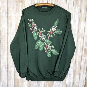 Vintage Birds Winter Berries Holiday Xmas Crewneck